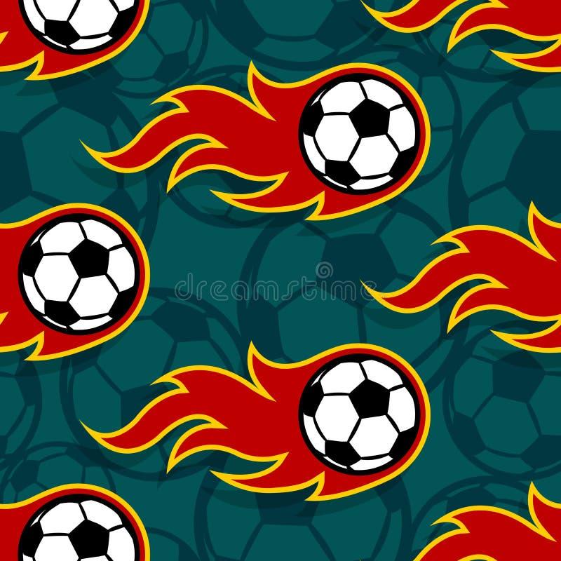 Άνευ ραφής διανυσματικό σχέδιο με τα εικονίδια σφαιρών ποδοσφαίρου ποδοσφαίρου και flam διανυσματική απεικόνιση