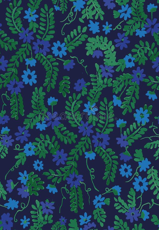 Άνευ ραφής διανυσματικό σχέδιο με τα μικρά μπλε λουλούδια και τα πράσινα φύλλα στο σκοτεινό υπόβαθρο απεικόνιση αποθεμάτων