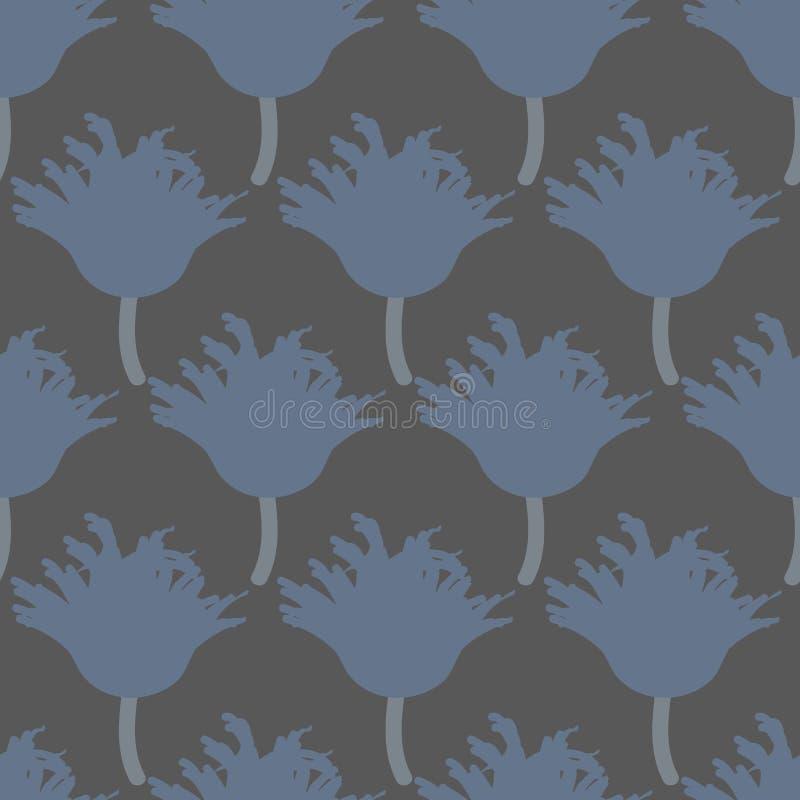 Άνευ ραφής διανυσματικό σχέδιο με τα μπλε λουλούδια τουλιπών στο σκοτεινό γκρίζο υπόβαθρο διανυσματική απεικόνιση