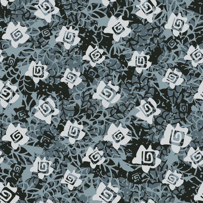 Άνευ ραφής διανυσματικό σχέδιο με τα τριαντάφυλλα και τα φύλλα στα greys διανυσματική απεικόνιση