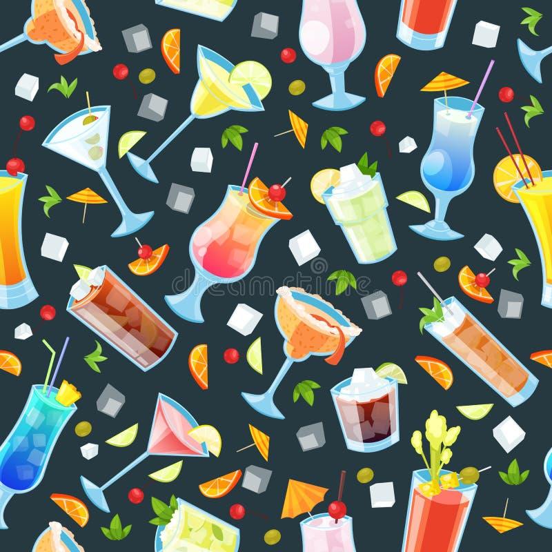 Άνευ ραφής διανυσματικό σχέδιο με τα τροπικά κοκτέιλ οινοπνεύματος Φραγμός ποτών και ποτών, μαύρο υπόβαθρο εστιατορίων απεικόνιση αποθεμάτων