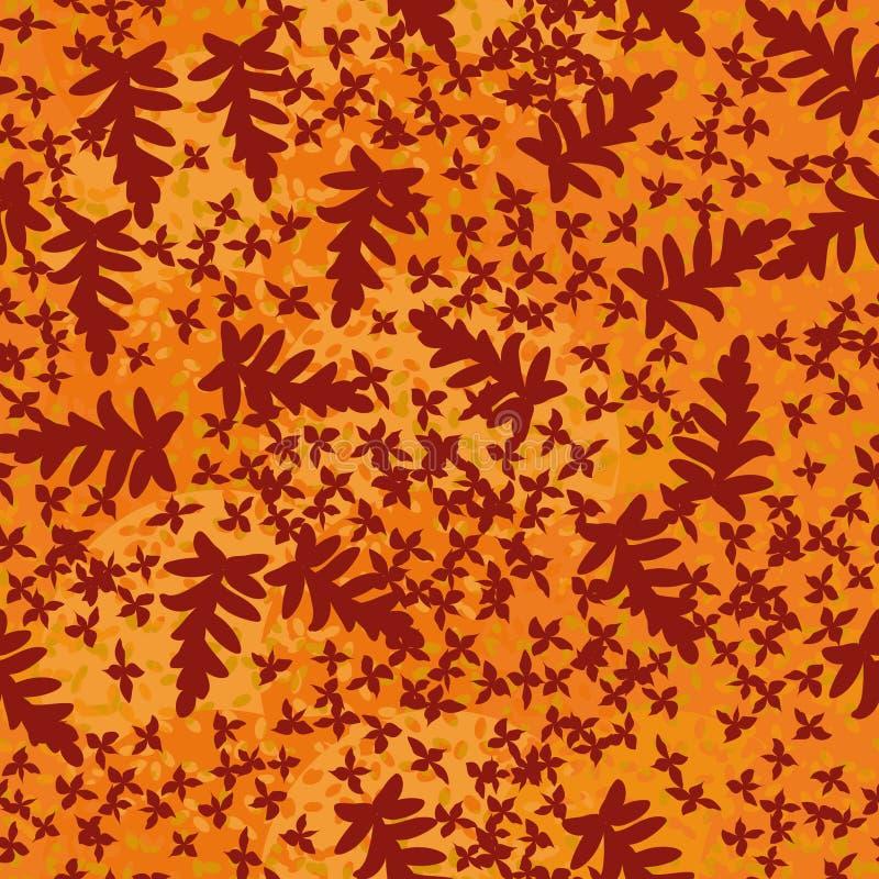 Άνευ ραφής διανυσματικό σχέδιο με τα φύλλα και τις σκιαγραφίες λουλουδιών διανυσματική απεικόνιση