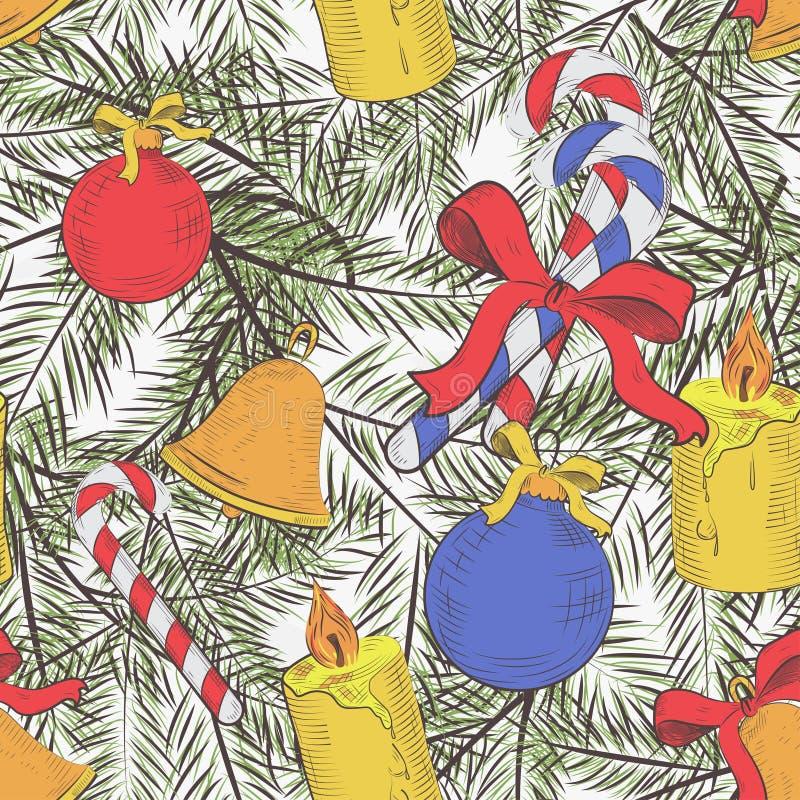 Άνευ ραφής διανυσματικό σχέδιο με τα χαριτωμένα δέντρα έλατου, τόξα, παιχνίδια Χριστουγέννων Ζωηρόχρωμο εποχιακό χειμερινό υπόβαθ απεικόνιση αποθεμάτων