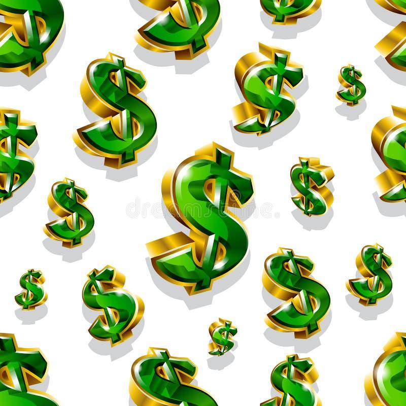 Άνευ ραφής διανυσματικό σχέδιο με τα χρυσά σημάδια δολαρίων ελεύθερη απεικόνιση δικαιώματος