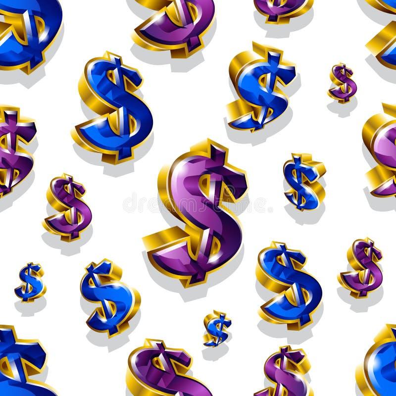 Άνευ ραφής διανυσματικό σχέδιο με τα χρυσά σημάδια δολαρίων διανυσματική απεικόνιση