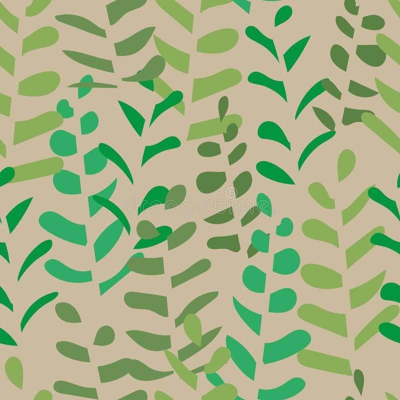Άνευ ραφής διανυσματικό σχέδιο με τις σκιαγραφίες φύλλων στα φυσικά πράσινα και khakis διανυσματική απεικόνιση