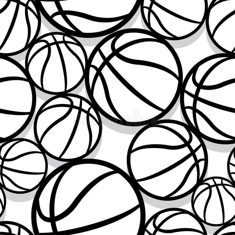 Άνευ ραφής διανυσματικό σχέδιο με τις σφαίρες καλαθοσφαίρισης ελεύθερη απεικόνιση δικαιώματος