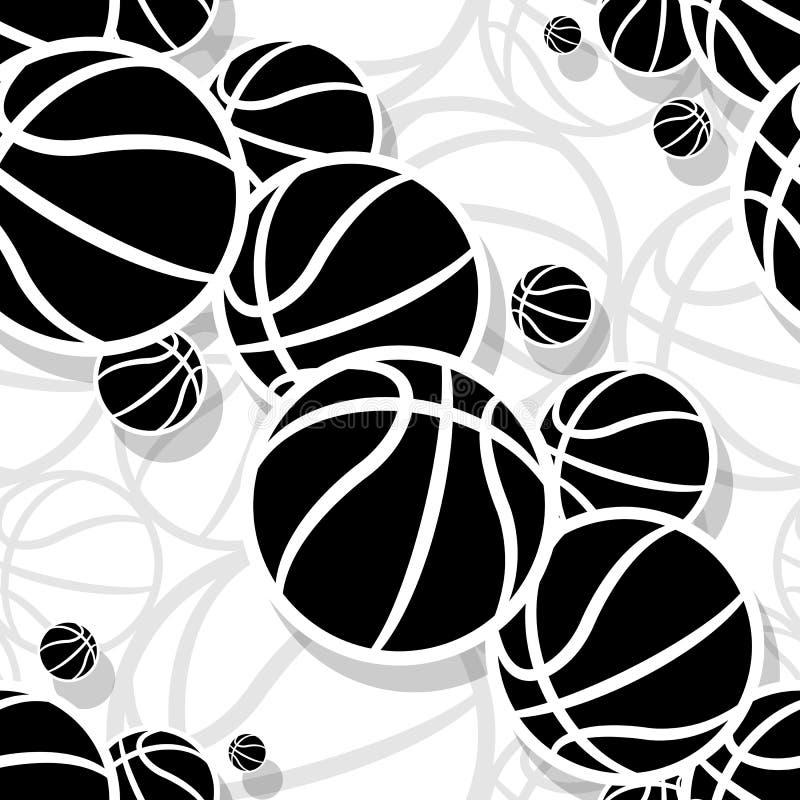 Άνευ ραφής διανυσματικό σχέδιο με τις σφαίρες καλαθοσφαίρισης διανυσματική απεικόνιση