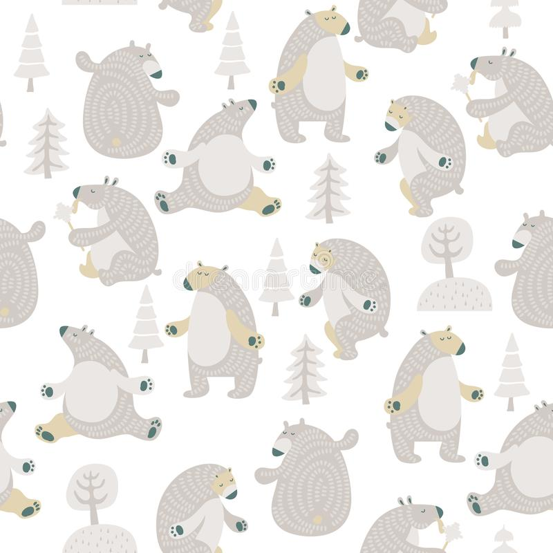 Άνευ ραφής διανυσματικό σχέδιο με τις χαριτωμένες αρκούδες στο Σκανδιναβικό μινιμαλιστικό σύγχρονο ύφος απεικόνιση αποθεμάτων