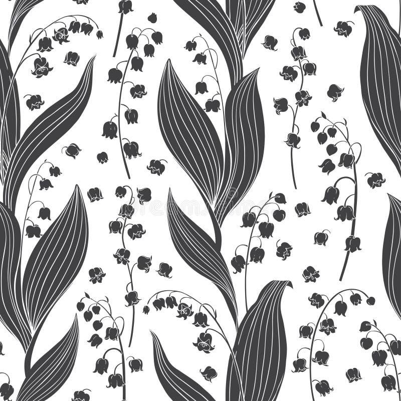 Άνευ ραφής διανυσματικό σχέδιο με τους κρίνους της κοιλάδας Μαύρες floral σκιαγραφίες σε ένα άσπρο υπόβαθρο ελεύθερη απεικόνιση δικαιώματος