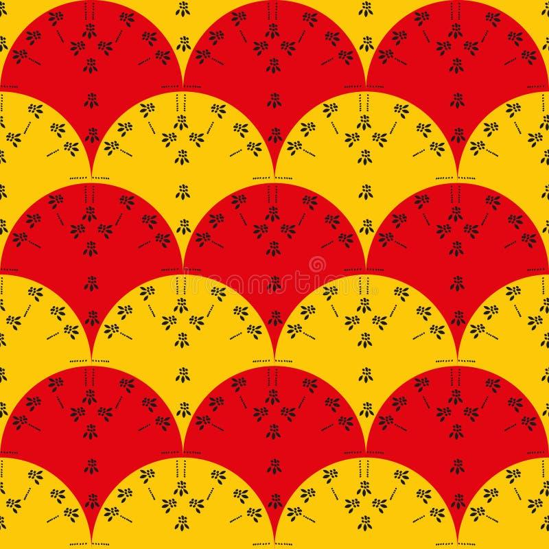 Άνευ ραφής διανυσματικό σχέδιο με τους κόκκινους και κίτρινους ανεμιστήρες με τη μαύρη floral τυπωμένη ύλη διανυσματική απεικόνιση