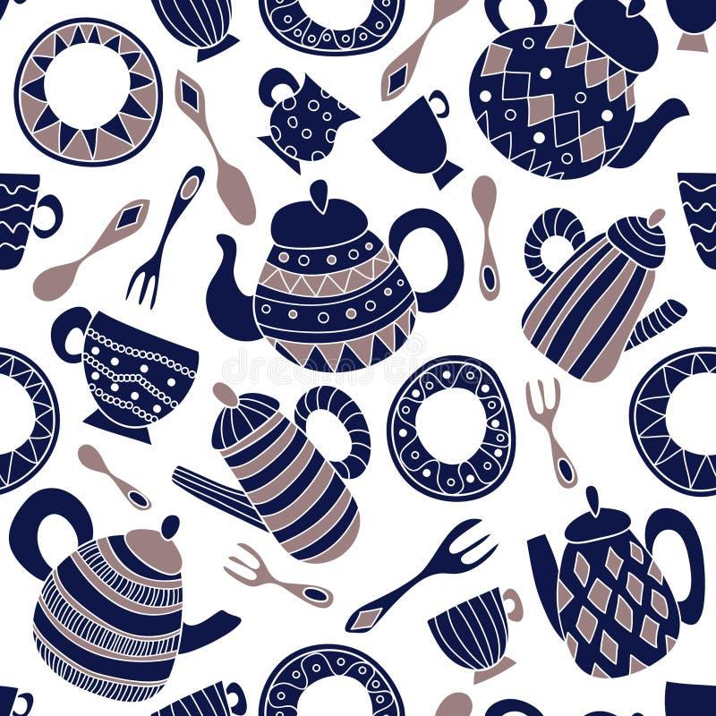 Άνευ ραφής διανυσματικό σχέδιο με το πιάτο, το δίκρανο, το κουτάλι, teapot και το φλυτζάνι απεικόνιση αποθεμάτων