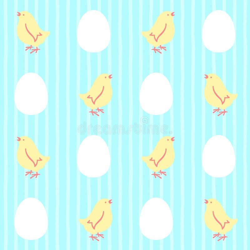 Άνευ ραφής διανυσματικό σχέδιο Πάσχας με τα κοτόπουλα και τα αυγά απεικόνιση αποθεμάτων