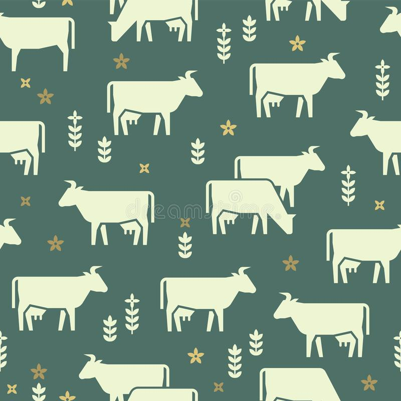 Άνευ ραφής διανυσματικό σχέδιο των ζώων αγροκτημάτων, των κτηρίων, του εξοπλισμού και άλλων στοιχείων στα γραπτά χρώματα διανυσματική απεικόνιση