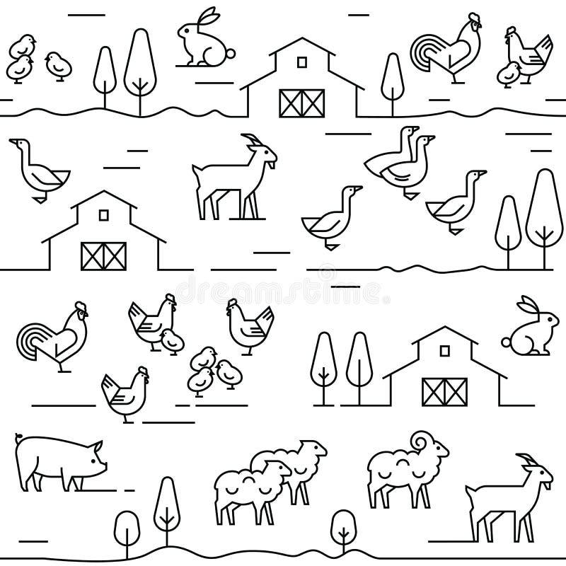 Άνευ ραφής διανυσματικό σχέδιο των ζώων αγροκτημάτων, των κτηρίων, του εξοπλισμού και άλλων στοιχείων στα γραπτά χρώματα απεικόνιση αποθεμάτων