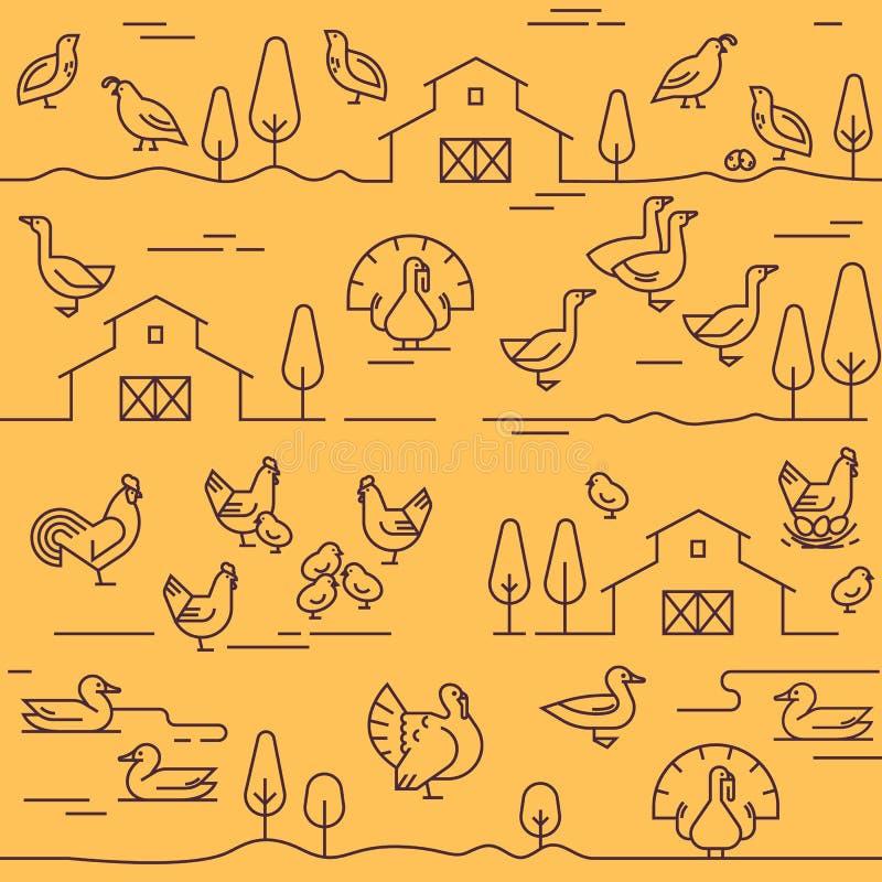 Άνευ ραφής διανυσματικό σχέδιο των ζώων αγροκτημάτων, των κτηρίων, του εξοπλισμού και άλλων στοιχείων ελεύθερη απεικόνιση δικαιώματος