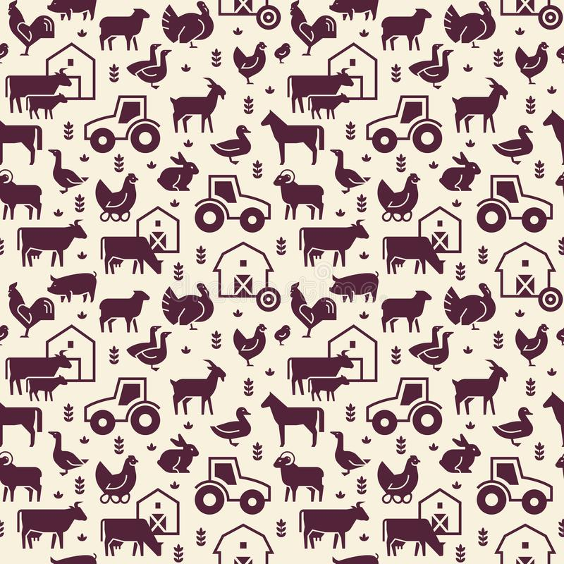 Άνευ ραφής διανυσματικό σχέδιο των ζώων αγροκτημάτων, των κτηρίων, του εξοπλισμού και άλλων στοιχείων σε δύο χρώματα απεικόνιση αποθεμάτων
