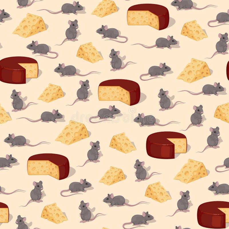 Άνευ ραφής διανυσματικό σχέδιο των ποντικιών και κομμάτια του τυριού διανυσματική απεικόνιση