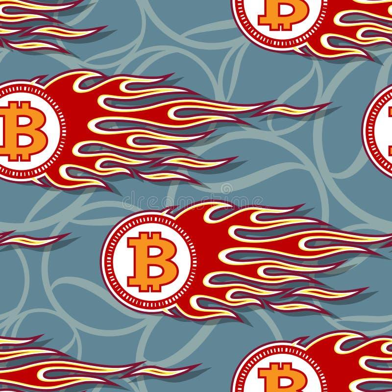Άνευ ραφής διανυσματικό σχέδιο των ψηφιακών crypto bitcoin εικονιδίων και των φλογών νομίσματος απεικόνιση αποθεμάτων