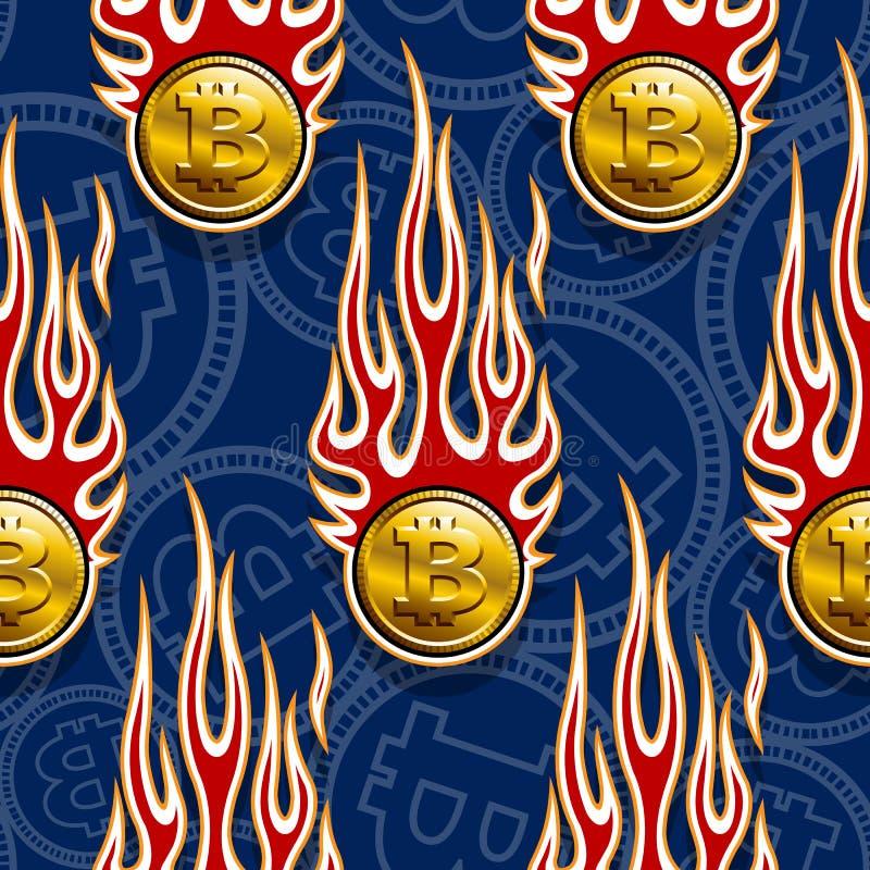 Άνευ ραφής διανυσματικό σχέδιο των ψηφιακών crypto bitcoin εικονιδίων και των φλογών νομίσματος διανυσματική απεικόνιση
