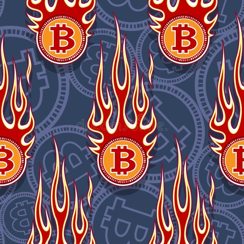 Άνευ ραφής διανυσματικό σχέδιο των ψηφιακών crypto bitcoin εικονιδίων και των φλογών νομίσματος ελεύθερη απεικόνιση δικαιώματος