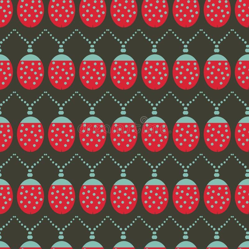 Άνευ ραφής διανυσματικό σχέδιο υποβάθρου με τα φω'τα Χριστουγέννων ladybug διανυσματική απεικόνιση