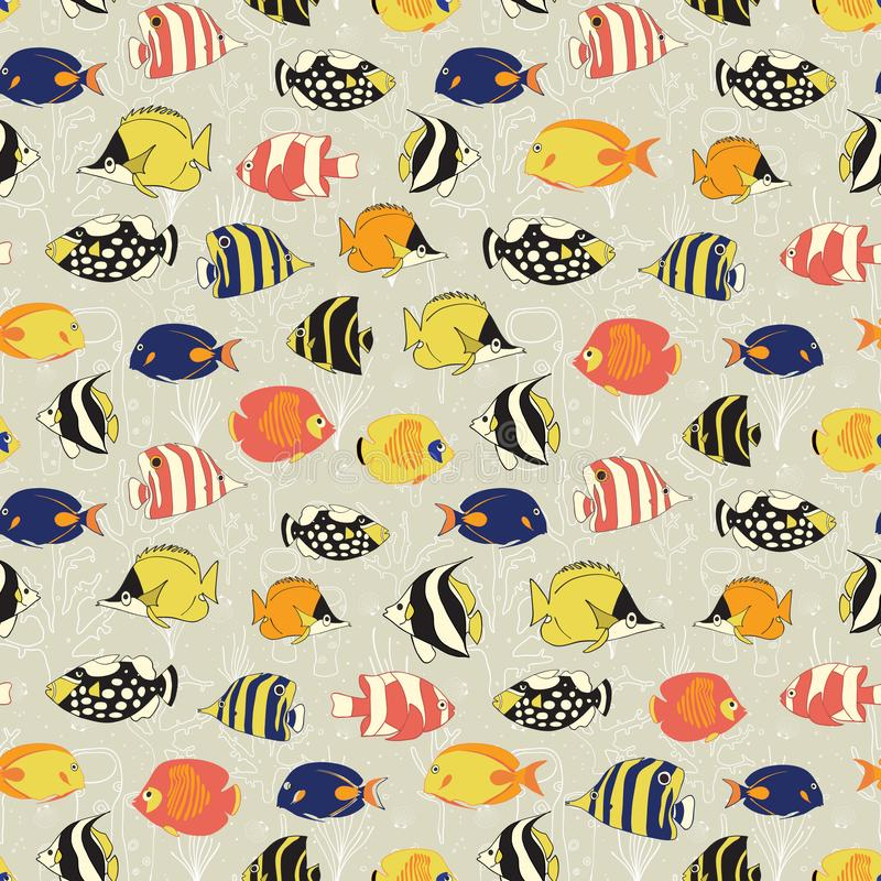Άνευ ραφής διανυσματικό σχέδιο ψαριών Τροπικό ζωηρόχρωμο υπόβαθρο ψαριών σκοπέλων Butterflyfish, κλόουν Triggerfish, δεσποινάριο, διανυσματική απεικόνιση