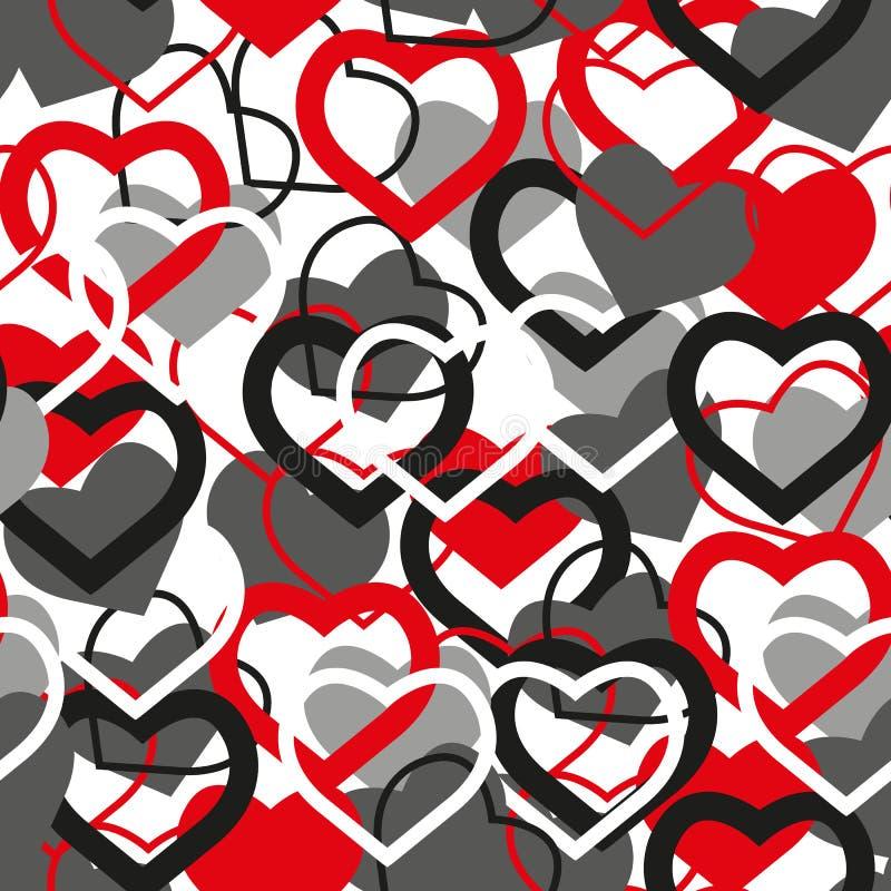 Άνευ ραφής διανυσματικό υπόβαθρο με τις διακοσμητικές καρδιές print Αγάπη αφισών Σχέδιο υφασμάτων, ταπετσαρία διανυσματική απεικόνιση