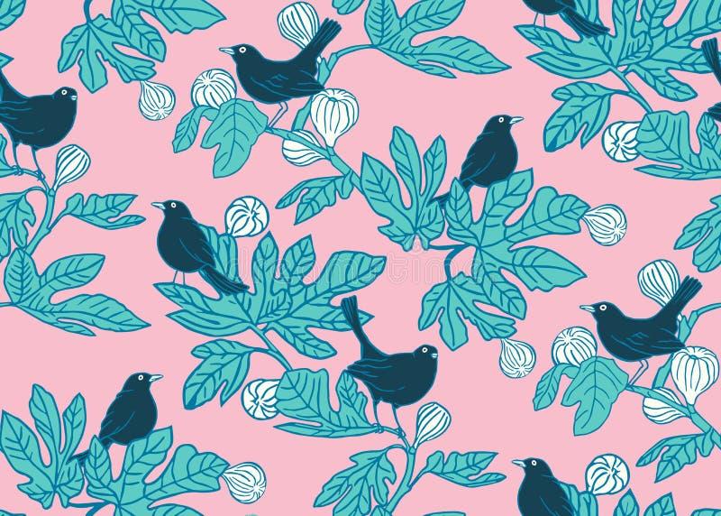 Άνευ ραφής διανυσματικό υπόβαθρο σχεδίων με τα χαριτωμένα πουλιά στους κλάδους ενός δέντρου σύκων στο ρόδινο υπόβαθρο σχέδιο επιφ διανυσματική απεικόνιση