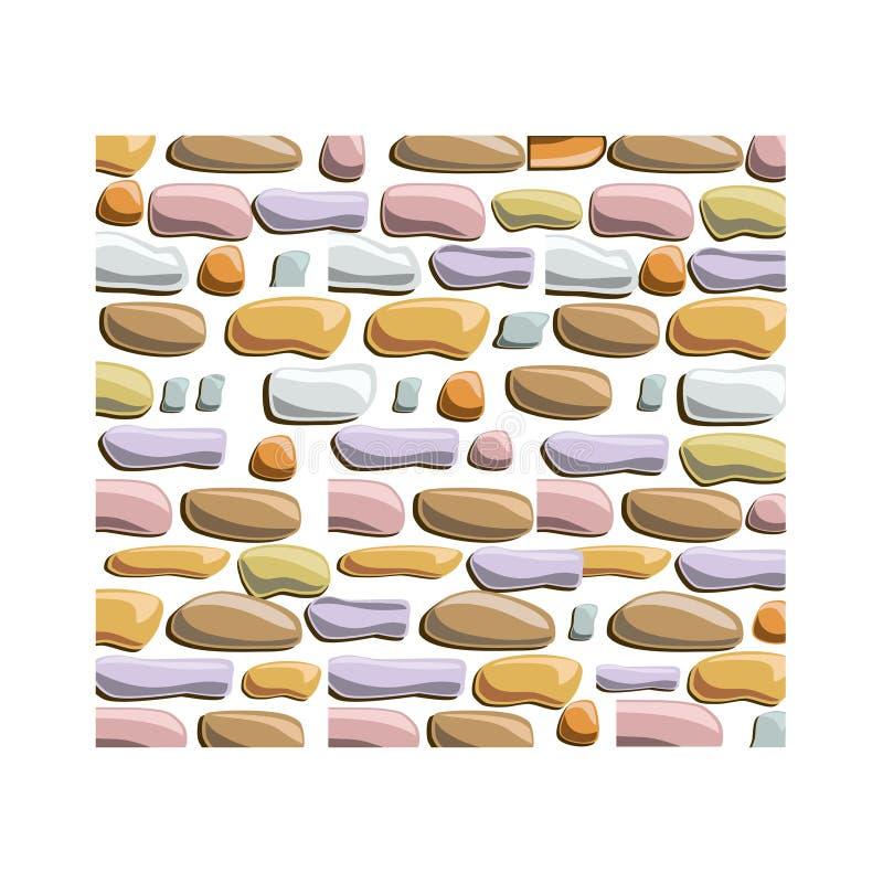 Άνευ ραφής διανυσματικό υπόβαθρο του ορθογώνιου κτηρίου τοίχων πετρών με τα διαφορετικά μεγέθους ραγισμένα τούβλα διανυσματική απεικόνιση