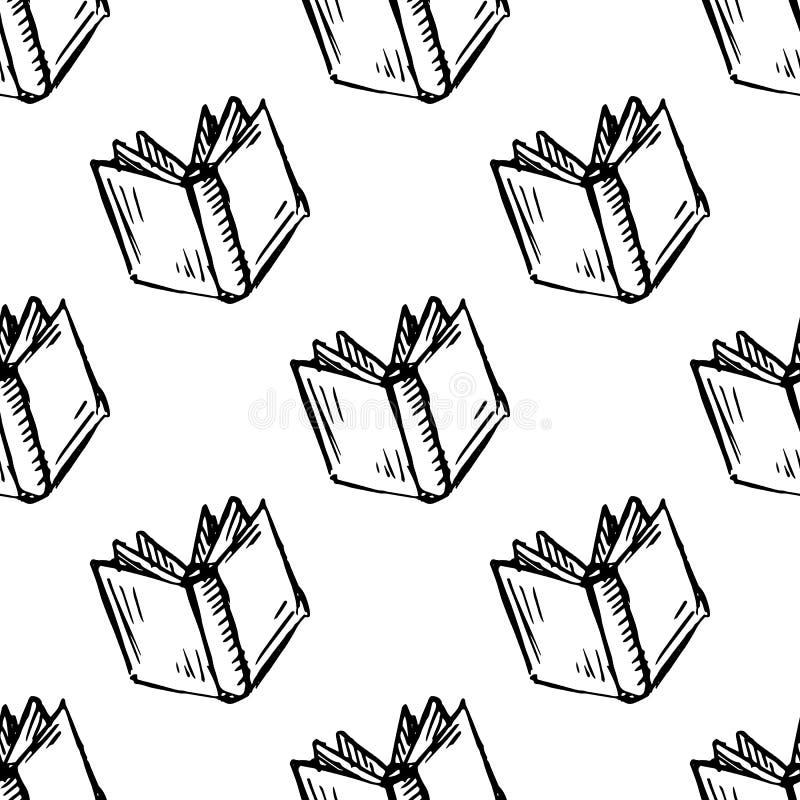 Άνευ ραφής εικονίδιο βιβλίων σχεδίων Handdrawn doodle Συρμένο χέρι μαύρο σκίτσο Σύμβολο σημαδιών Στοιχείο διακοσμήσεων E   ελεύθερη απεικόνιση δικαιώματος