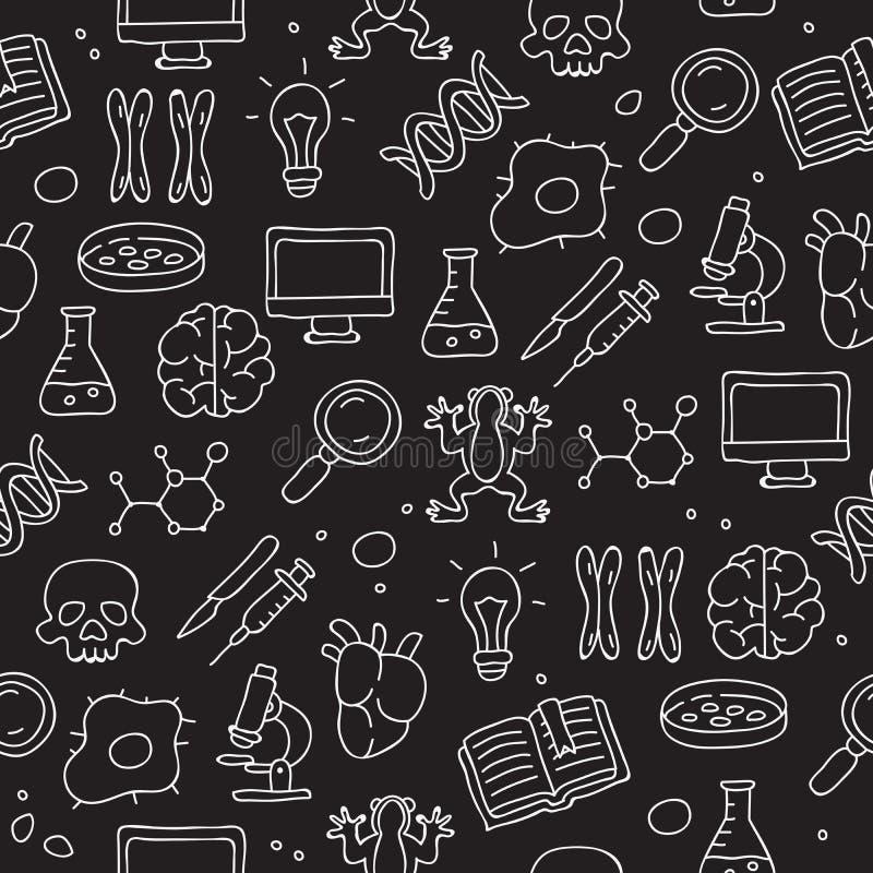 Άνευ ραφής εικονίδιο σχεδίων στη βιολογία διανυσματική απεικόνιση