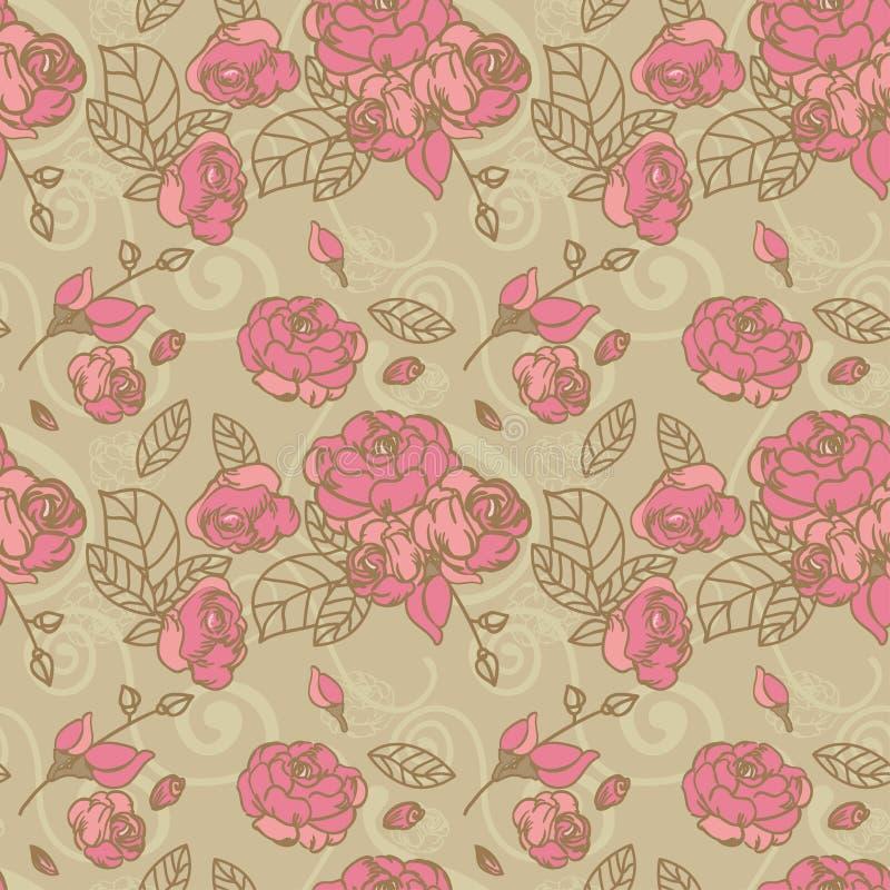 Άνευ ραφής εκλεκτής ποιότητας τριαντάφυλλα διανυσματική απεικόνιση