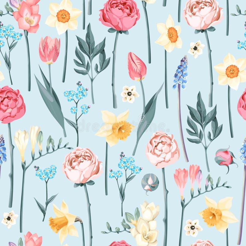 Άνευ ραφής εκλεκτής ποιότητας λουλούδια απεικόνιση αποθεμάτων