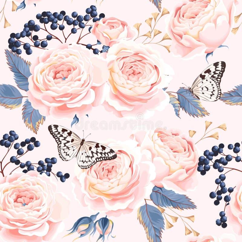 Άνευ ραφής εκλεκτής ποιότητας λουλούδια διανυσματική απεικόνιση