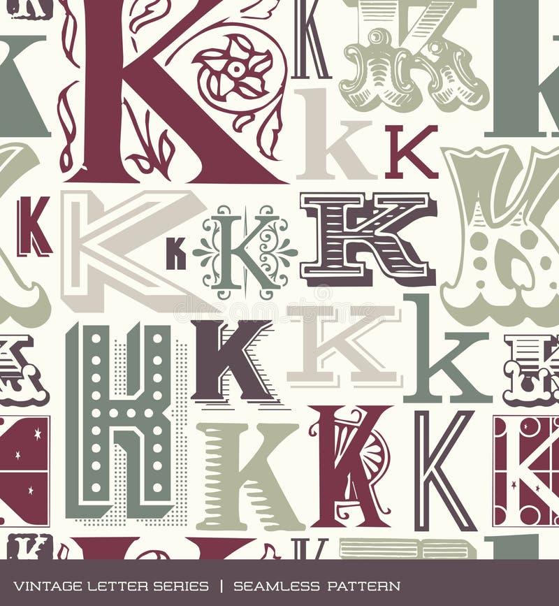 Άνευ ραφής εκλεκτής ποιότητας σχέδιο του γράμματος Κ στα αναδρομικά χρώματα απεικόνιση αποθεμάτων