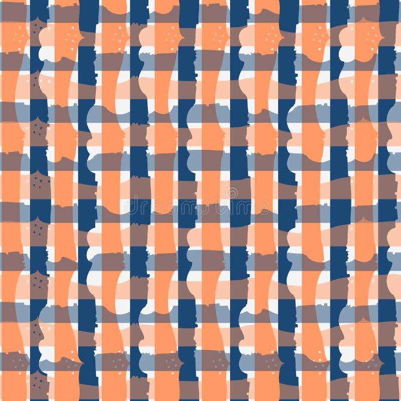Άνευ ραφής ελεγμένο σχέδιο φαντασίας στα μπλε και πορτοκαλιά χρώματα απεικόνιση αποθεμάτων