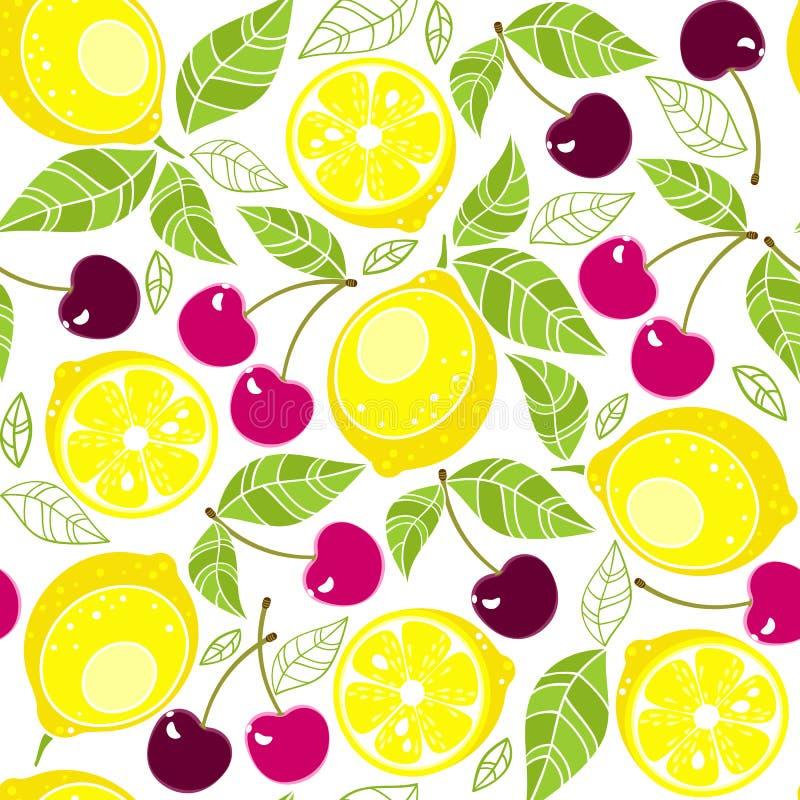 Άνευ ραφής λεμόνια σχεδίων με τα φύλλα και κεράσι σε ένα άσπρο υπόβαθρο ελεύθερη απεικόνιση δικαιώματος