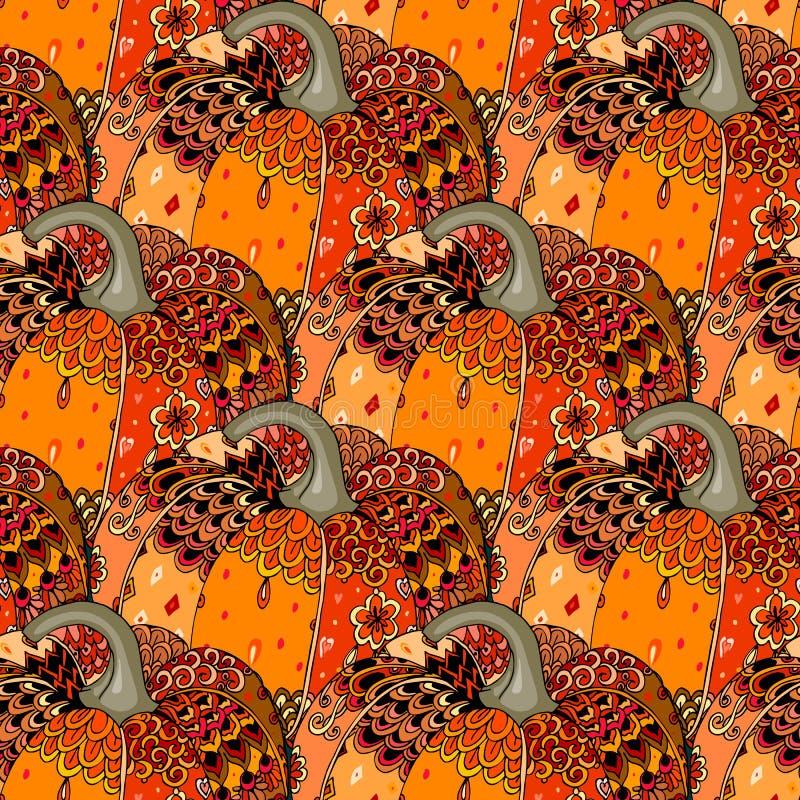 Άνευ ραφής εορταστικό σχέδιο με τη φωτεινή συρμένη χέρι κολοκύθα Σύμβολο ημέρας των ευχαριστιών απεικόνιση αποθεμάτων