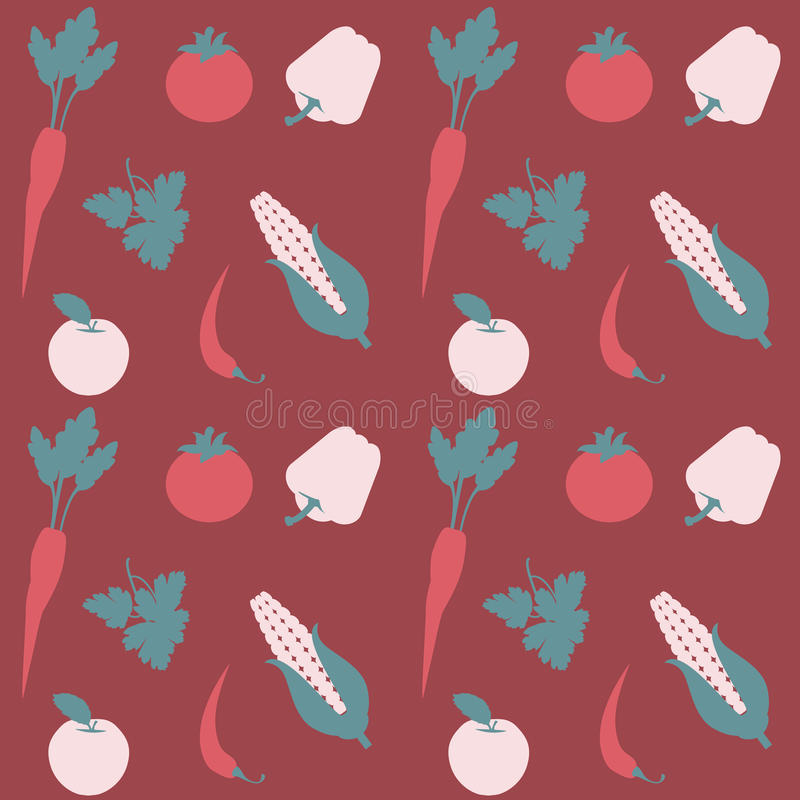 Άνευ ραφής επίπεδο διανυσματικό σχέδιο φρούτων και λαχανικών ελεύθερη απεικόνιση δικαιώματος