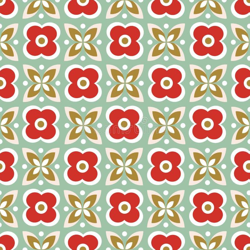 Άνευ ραφής επαναλάβετε το σχέδιο των τυποποιημένων κόκκινων λουλουδιών και των πράσινων φύλλων σε ένα γεωμετρικό σχέδιο Διανυσματ ελεύθερη απεικόνιση δικαιώματος