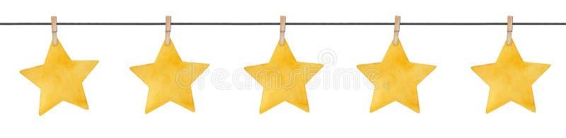 Άνευ ραφής επαναλαμβανόμενη γιρλάντα με τα χαριτωμένα μικρά αστέρια που κρεμούν στα ξύλινα clothespins στοκ εικόνες
