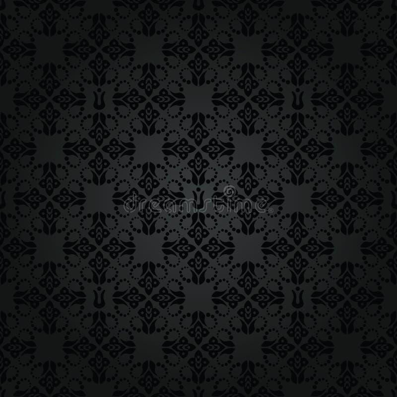 Άνευ ραφής επαναλαμβανόμενο μαύρο floral πρότυπο διανυσματική απεικόνιση