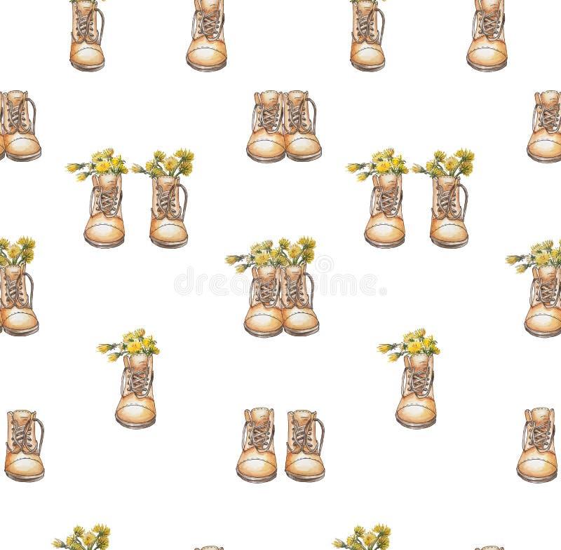 Άνευ ραφής ζευγάρι παπουτσιών παπουτσιών σχεδίων καφετί και χωριστά με τις πικραλίδες μέσα στο άσπρο υπόβαθρο που απομονώνεται διανυσματική απεικόνιση