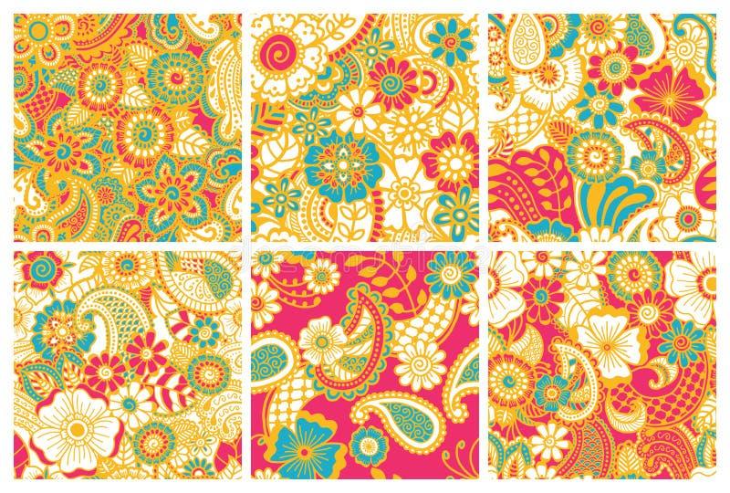 Άνευ ραφής ζωηρόχρωμα σχέδια του Paisley απεικόνιση αποθεμάτων