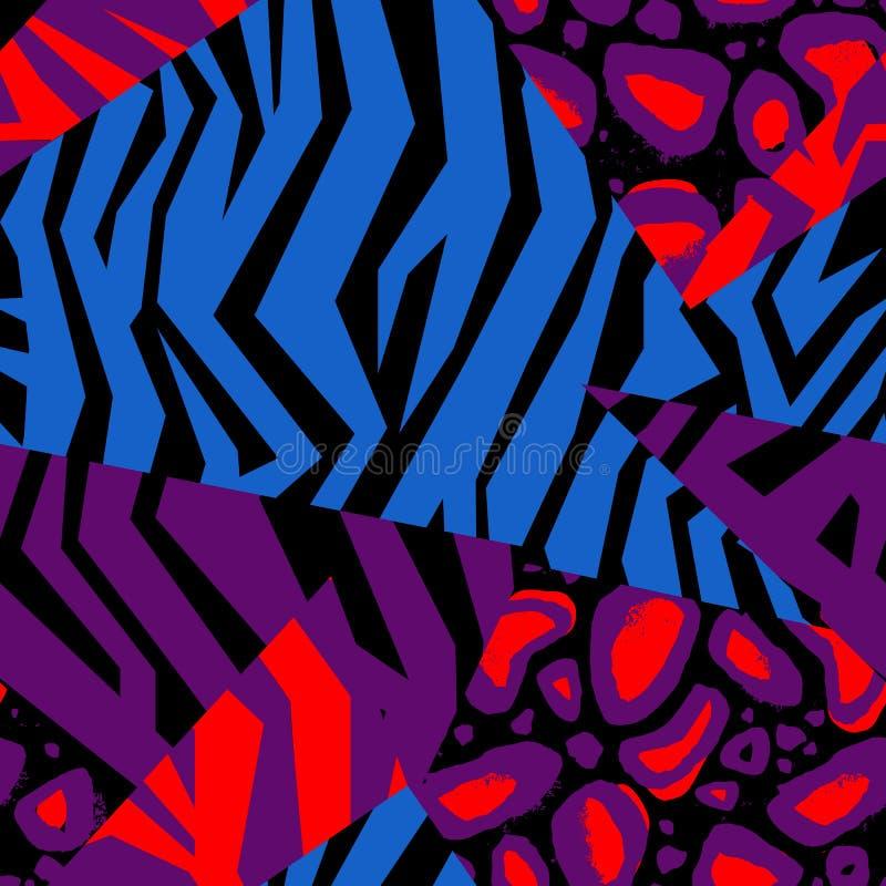 Άνευ ραφής ζωηρόχρωμη ζωική σύσταση δερμάτων του με ραβδώσεις διανυσματική απεικόνιση