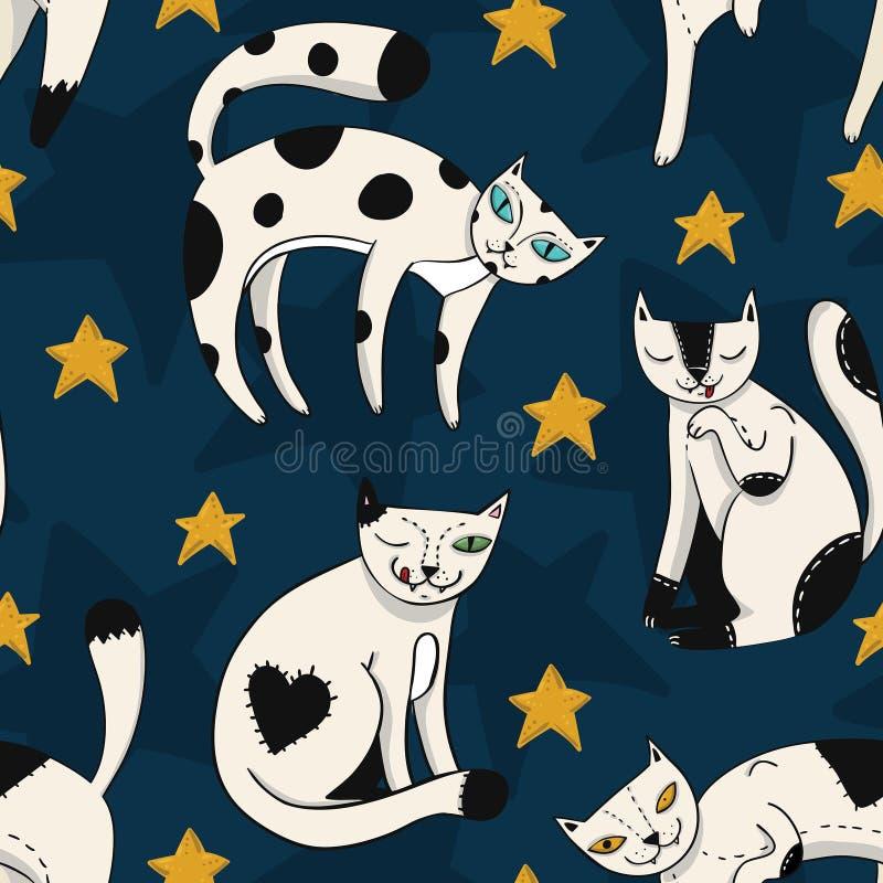 Άνευ ραφής ζωηρόχρωμο σχέδιο με τις αστείες γάτες με τα αστέρια στο σκούρο μπλε υπόβαθρο ουρανού απεικόνιση αποθεμάτων