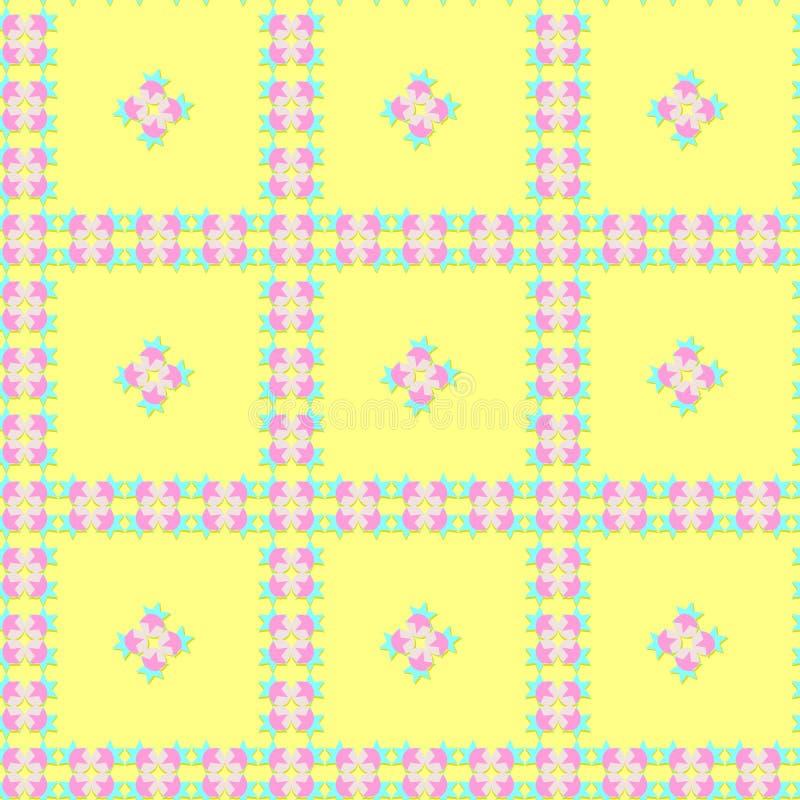 Άνευ ραφής ζωηρόχρωμο σχέδιο των αστεριών και των στρογγυλών μορφών στα μπλε, ρόδινα, γκρίζα χρώματα με τη σκιά, κίτρινο υπόβαθρο ελεύθερη απεικόνιση δικαιώματος