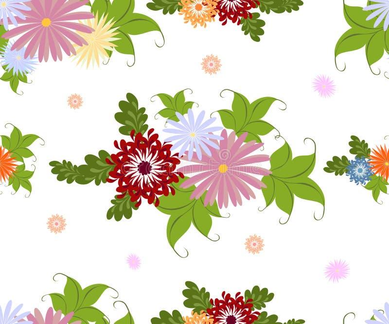Άνευ ραφής ζωηρόχρωμο σχέδιο λουλουδιών στο άσπρο υπόβαθρο EPS10 διανυσματική απεικόνιση διανυσματική απεικόνιση