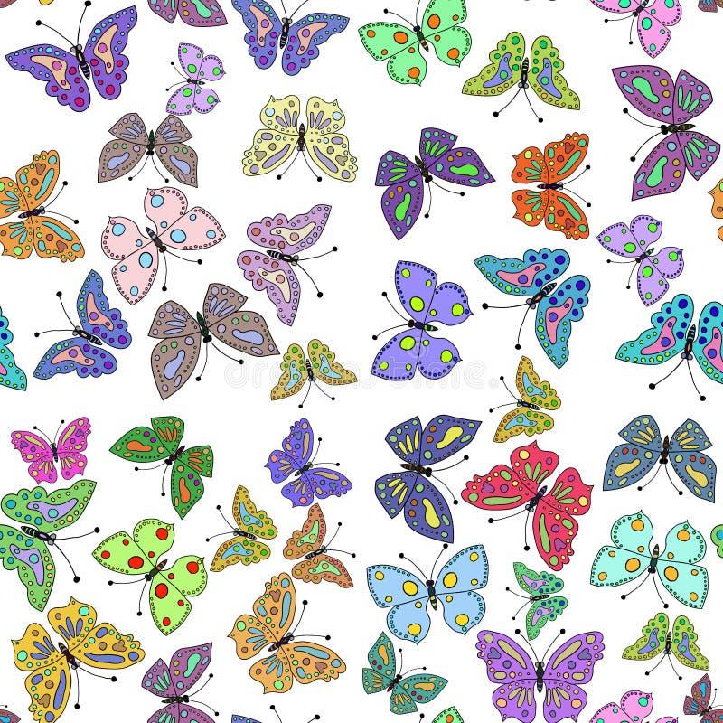 Άνευ ραφής ζωηρόχρωμο σχέδιο πεταλούδων διάνυσμα απεικόνιση αποθεμάτων